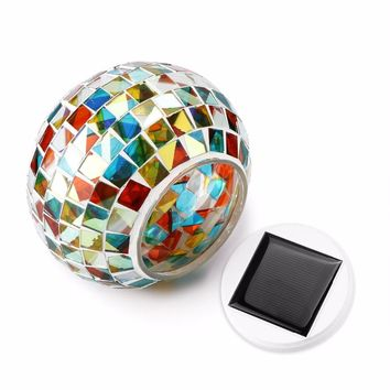 Solar Powered Mosaic Glass Ball Light LED Garden Lights Night Lamp  Lawn Light  Courtyard Holiday Christmas Party Decoration