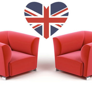British Flag Heart - Vinyl Wall Art Decal