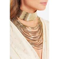 JUJIA Luxury metal chain choker Maxi Statement Necklace  Multilayer Wedding chokers
