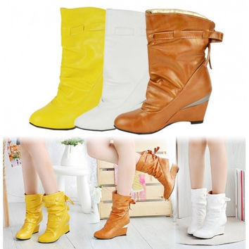 Women's Girls Winter Boots Round Toe Shoes Wedge Boots