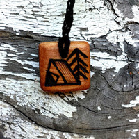 Natural Wooden Camping Pendant Necklace | The Climbing Stone