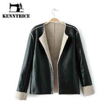 Spliced Sheepskin Leather Jackets Women Faux Coats Windbreaker Fashion Trench Coat Outerwear