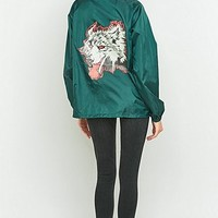 Urban Renewal Vintage Customised Wolf Print Green Nylon Jacket - Urban Outfitters