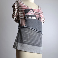 End Of Summer SALE Up-cycled Summer T-shirt - OOAK Summer Tee - Ecofriendly Clothing - Funky - Summer Tops