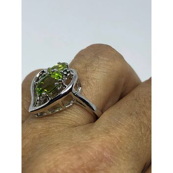 Start Your Holiday Shopping!!! Vintage Handmade Genuine Green Peridot Filigree Setting 925 Sterling Silver Gothic Heart Ring