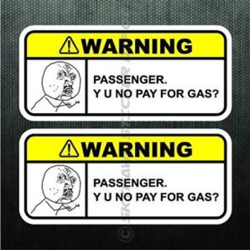 Y U NO PAY FOR GAS? Funny Dash Sticker Set Vinyl Decal JDM Car Truck Fuel Meme
