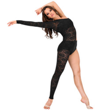 Adult Lace Asymmetrical Long Sleeve Unitard