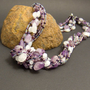 Amethyst Gemstone Necklace for the Crown Chakra by AnandaBijoux on Etsy