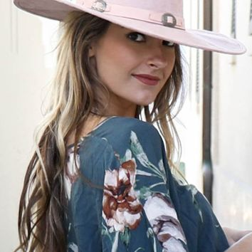 Pink Hat With Silver Buckles