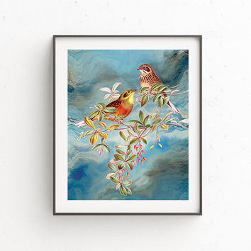 Birds Poster,Wall art ,Printable wall art,Digital download,Vintage bird print,Home decor,Nursery decor, Birds on a wire,Watercolor birds