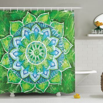 Green Blue Leaf Mandala Boho Shower Curtain
