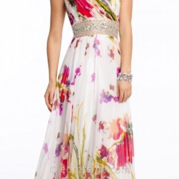 Bold Floral Print Prom Gown by Camille La Vie