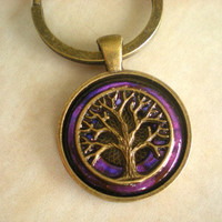 Tree of Life Keychain - Amethyst - Keyring - Men's Key Ring - Men's Keychain - Tree Keychain - Celtic Keychain - New Age Keychain