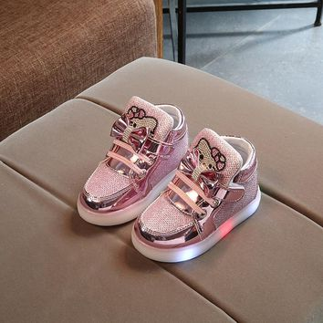 KKABBYII Girls Hello Kitty Children Shoes with light Baby Glowing Sneakers Kids Shoes For Boys Girls Chaussure Enfant EU 21-30