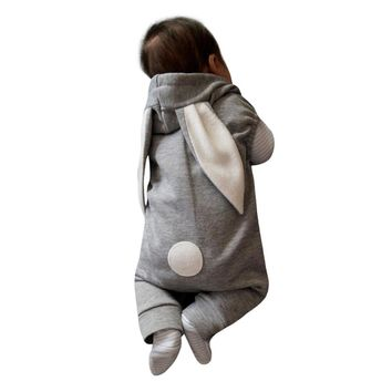 Cute winter baby rabbit ear warm Newborn Infant Kids Baby Boy Girl Romper Hooded Jumpsuit Outfit Clothes Casual Daily