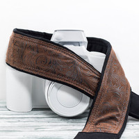 Western Camera Strap, dSLR, Faux Leather, Men or Women, Quick Release, Canon, Nikon, Camera Neck Strap, Pocket, SLR, 197 w