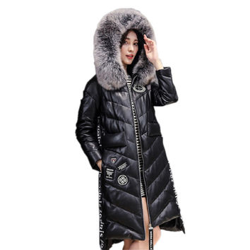 Fashion Faux Sheepskin Coat 2016 Winter Down Jacket Coats X-Long Style Fox Fur Collar Hooded Overcoat Warm Outerwear CT240