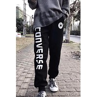 Converse tide brand couple side letter printed cotton pants Black