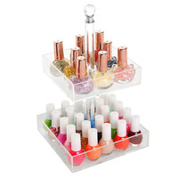 Rotating Clear Acrylic 2 Tier Nail Polish Cosmetics Organizer Display Rack Stand