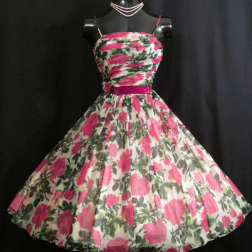 Vintage 1950's 50s Pink Green Ruched Impressionist Floral Roses Print Chiffon Organza Party Prom Wedding Dress Gown