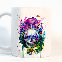 Skull coffee mug Skull mug Watercolor Mug Coffee Cup, Tea Cup, Gift for her, Gift for him, Printed mug, Ceramic mug