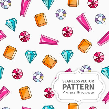 Seamless vector pattern with colorful Gemstones & Crystals - Ai, EPS, JPG, PDF
