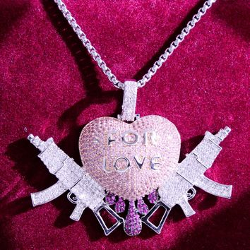 Men's Fight For Love Drip Heart With Gun Pendant