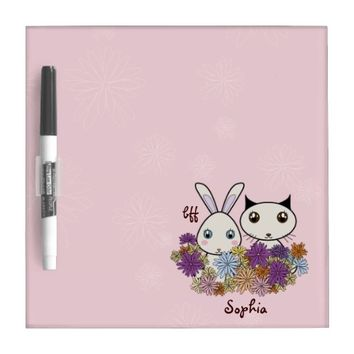 Cute Bunny and Kitten Pink Kids Dry Erase Boards for Girl's Bedroom: Birthday or Easter Gift Idea: BFF - Best Friends Forever