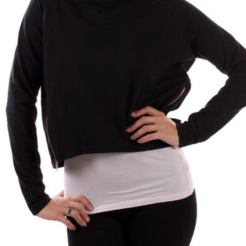 Long Sleeve Cropped Sweatshirt W/ Zippers