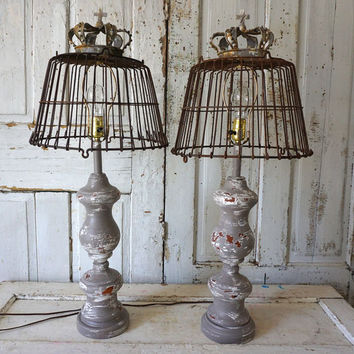 Wood baluster lamps lighting French farmhouse distressed gray bases reclaimed rusty basket lampshades w/ crowns decor anita spero design