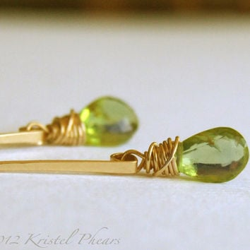 Peridot Earrings - Silver or Gold-filled post dangle apple lime green original jewelry design August birthstone gift anniversary bridal gift