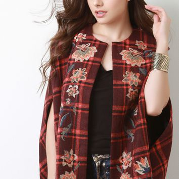 Embroidered Floral Plaid Cape