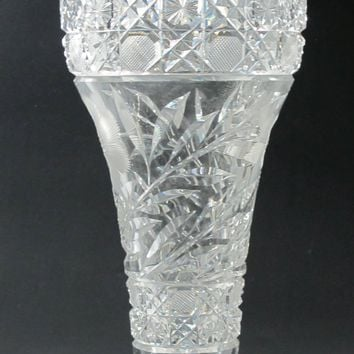American Brilliant floral Period Cut Glass vase Antique
