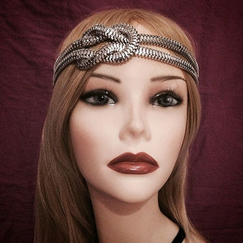 1920's inspired silver grecian medusa costume chain knot flapper headband 20s art deco 1920s gatsby goddess headpiece head piece elastic