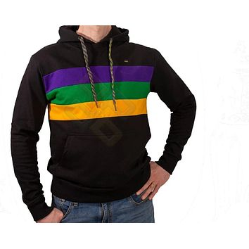 Mardi Gras Black Pullover Hooded Sweatshirt