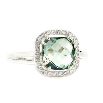 Suzanne Kalan Sterling Silver 8mm Cushion-Cut Green Topaz Filigree Bezel Ladies' Ring