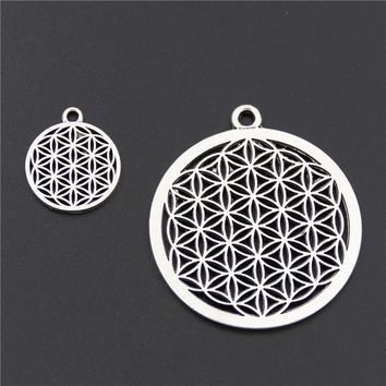 5pcs Antique Silver Flower of life Circle Shaped Seed of Life Sacred Geometry Craft DIY Findings