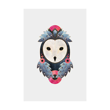 Owl Light Background Adhesive Art Print