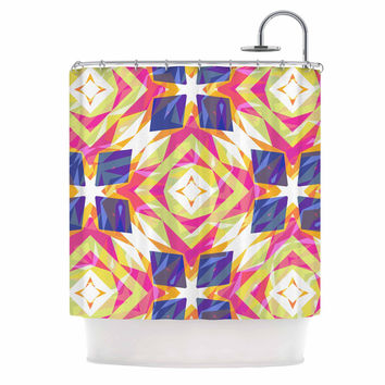 "Miranda Mol ""Dancing Tiles "" Indigo Pink Shower Curtain"