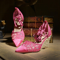 Korean Pointed Toe Wedge High Heel Hollow Out Lace Ring Shoes [4919907972]