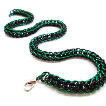 Green Black Chainmail Necklace Full Persian by SerenityInChains