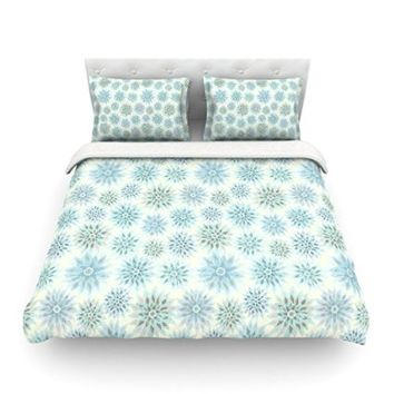 """Kess InHouse Julia Grifol """"My Delicate Flowers"""" Blue Green Cotton Duvet Cover, 68 by 88-Inch"""