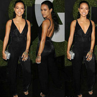 Black Strappy Backless Jumpsuit