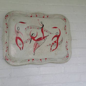 "Vintage Metal Tray,Ballet Dancers and Musical Notes, Wall Hanging, Retro, 22.5"" × 16.5"",Red,White, Pink,and Black"