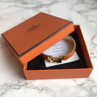 Hermes Clic H Bracelet - Orange/Gold Enamel