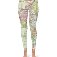 Antique World Map 1913 - Leggings in XS-3XL -  Sports or Fleece Fabric Leggins - Yoga, Gym, Thick Winter Gym Yoga Workout 000529