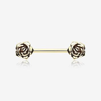 A Pair of Golden Vintage Rose Flower Nipple Barbell Ring