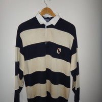 Vintage Polo By Ralph Lauren Pony Big Long Sleeve Shirt Stripe Rugby 1990s