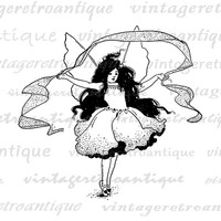 Printable Graphic Fairy Ballerina Image Download Digital Illustration Antique Clip Art Jpg Png Eps  HQ 300dpi No.2462