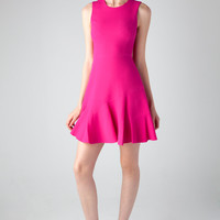 Rebecca Taylor Sleeveless Crepe Flippy Dress in Sugarberry